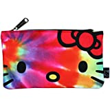 Loungefly Sanrio Hello Kitty Rainbow Tye Dye Nylon Cosmetic Pencil Bag Pouch