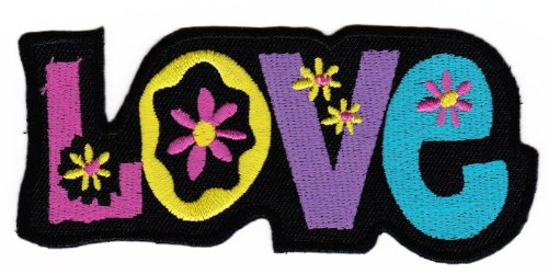 Bestellmich / Aufnäher - Parche aplicable mediante planchado, con diseño Love hippie