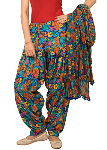 Rama Women\'s Cotton Floral Printed Patiala Dupatta Set (14RAMA14215873, Multicolour, Free Size)