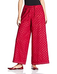 Fabindia Womens Parallel (10427043_Red_M)