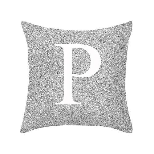 Good01pillow case in metallo argentato lettera peach cashmere, a-z lettere argento metallizzato tiro federa cuscino casa divano letto decor p