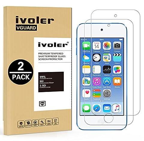 [2 pièces] iPod Touch 6G & 5G Protection écran , iVoler® Film Protection d'écran en Verre Trempé Glass Screen Protector Vitre Tempered pour Apple iPod Touch 6G & 5G - Dureté 9H, Ultra-mince 0.30 mm, 2.5D Bords Arrondis- Anti-rayure, Anti-traces de doigts,Haute-réponse, Haute transparence- Garantie de Remplacement de 18