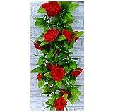 Enredadera artificial, de la marca AlphaAcc, con rosas de seda y hojas verdes, guirnalda de decoración para fiestas, hogar, boda 2 unidades