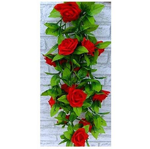 AlphaAcc artificiale rosa seta fiore verde foglia vite Garland Home parete decorazione festa matrimonio Decal X2 Rosso