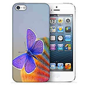 Snoogg Purple Butterfly Printed Protective Phone Back Case Cover For Apple Iphone 5 / 5S