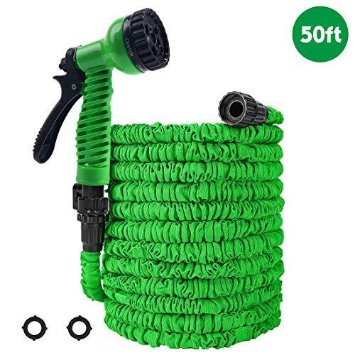 PiscatorZone Gartenschlauch, 15 m, dehnbar, knickfrei, Flexibler Wasserschlauch mit 7-Sprühdüse, extra starker Stoffschutz, Faltbarer Schlauch für Gartenarbeit Rasen Auto Haustierwäsche (15 m, grün)