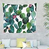 Tappeto da parete con motivo a cactus tropicale, bohémien, decorazione da parete per camera da letto e soggiorno 200x150cm verde