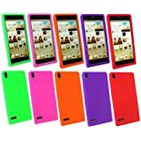 Emartbuy® Huawei Ascend P6 Bundle Pack Of 5 Silicon Skin Cover / Case Lila, Grün, Rosa, Orange U. Rot