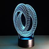 SOMESUN 3D Optisch Illusion LED Nachtlicht 7 Farben Zauber Berühren Veränderung Für Zuhause Schlafzimmer Kneipen Riegel Cafés Restaurants Dekor Mit Kabel (Tunnel)