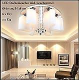 5192-6 Schirme Deckenleuchte mit LED-Leuchtmittel Schirme aus Glas Warmweiß Kristall A+ Neu Sparsam (6 Fl. Ø 60 cm) Modern Wohnzimmerleuchte Kronleuchte Pendelleuchte DeckenlampeDeckenstrahler led Deckenleuchte Hängeleuchte Hängelampe LED lampe LED Leuchte Beleuchtung Einbauleuchte Wandleuchte Spot Lüster
