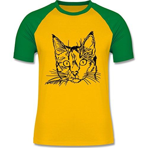 Katzen - Katze - zweifarbiges Baseballshirt für Männer Gelb/Grün