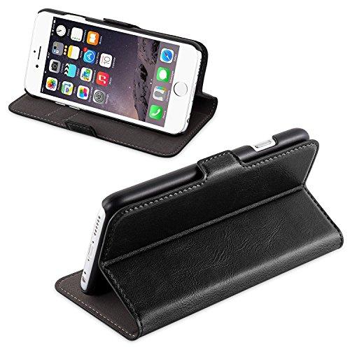 iPhone 6/6s Lederhülle | JAMMYLIZARD 2-in-1 Schutzhülle Magnetische Abnehmbare Ledertasche und Hardcase Leder Backcover, Schwarz SCHWARZ