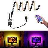 Bomcosy Tiras LED USB RGB Wireless Bluetooth Smartphone APP Control (Android iOS) Multi Color para TV Screen PC