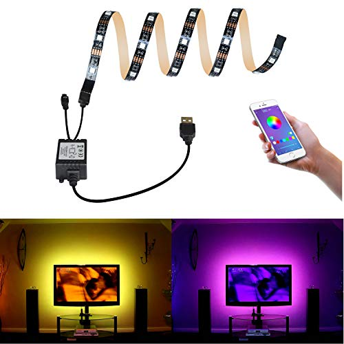 Bomcosy Tiras LED USB RGB Wireless Bluetooth Smartphone APP Control (Android iOS) Multi Color para TV Screen PC