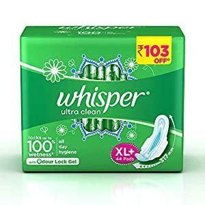 Whisper Ultra Clean Sanitary Pads - 44 Pieces (XL Plus)