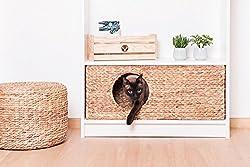 INWONA Katzenkörbchen für IKEA Billy Regal natürlicher Katzenkorb Katzenhöhle Kleintiere Hasen Meerschweinchen Höhle 75 x 29 x 25 cm Material: Wasserhyazinthe geflochten