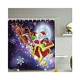 Abellale Vorhang Bad Wasserdicht Bad Vorhänge Dusche Polyester Style01 Weihnachtsmann und Elch 120X180 CM