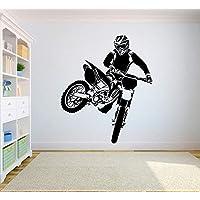 Wall Decal Motorcross Dirt Bike Sticker Bedroom Sport Dirt Bike Motorcycle Personalised Boys Teenager Room57*67Cm