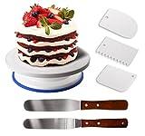 GiBot Tortenplatte drehbar Tortenständer Kuchen Drehteller Cake Decorating Turntable mit 2 Stück Winkelpalette Set, 3 Stück Icing Smoother, für Backen Gebäck, Zuckerguss, Mustern 28 x 7,1 cm Weiß