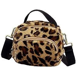 Bolsa de Leopardo Mujer Casual,Gusspower riñoneras Mujer Moda Bolso de Hombro Felpa Bolsas de Mensajero Bolso de Mano niñas Señoras