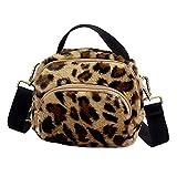 UFACE Mode Damen Leopard Print Reißverschluss Plüsch Umhängetasche Hnad Tasche Umhängetasche