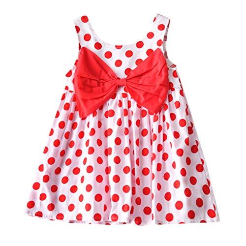 Prinzessin Kleid Damen Kurz Pwtchenty ärmelloses Polka Dot Print Bogen Kleider Baby Mädchen Kleidung Elegant Kurzarm Kleider Damen ()