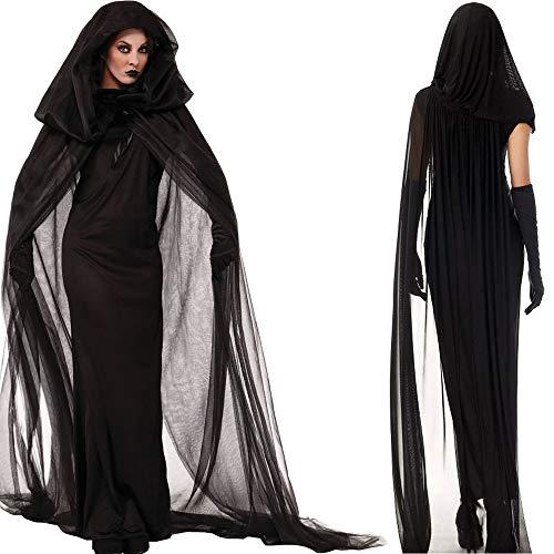 loween Kostüm Hexe Kostüm Vampir Braut Cosplay Uniform (Color : Black, Size : XL) ()