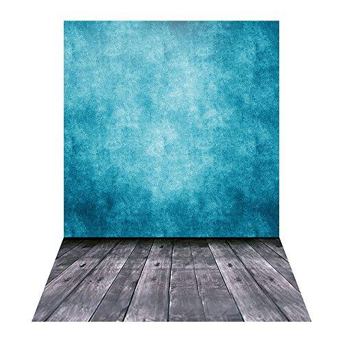 Andoer 1.5 * 2.1m / 5 * 6.9ft Fotografie Hintergrund Digital gedruckt Blau Classic Wand Holzboden Muster für Kinder Kinder Baby Neugeborenen Porträt Studio Fotografie (Digitale Fotografie Hintergrund)