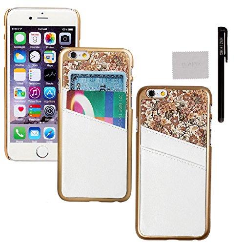 xhorizon® Für iPhone 6 Case [ 4,7-Inch ] [ Kartenhalter ] Luxus Blumen Leder Harte rückseitige Abdeckung Verschluss auf Hülle mit einem Stylus / Reinigungstuch Weiß