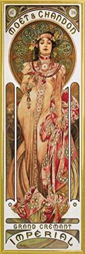 Alphonse Mucha Poster Kunstdruck und Kunststoff-Rahmen - Moët Et Chandon, 1899 (91 x 30cm)