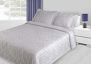 220x240 cm silber Tagesdecke Bettüberwurf mit Steppungen und 2 Kissenbezügen 50x70 Neuheit Schnäppchen Grace