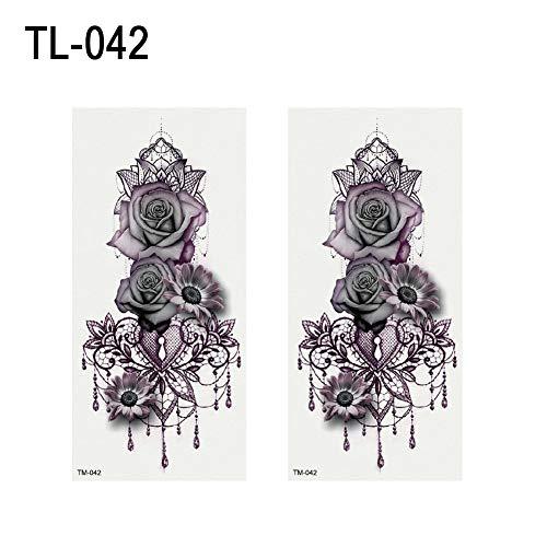 (SEGRJ 2 Blätter Fashion Flower Cross Cartoon Tiere temporäre Tattoo-Aufkleber Body Art Decal TL-042)