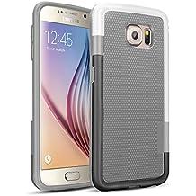 Galaxy S6 Funda - [Ultra Hybrid] HanLuckyStars Funda Carcasa Case TPU Matte Shell Exact Bumper Tope Shock Protección Gota Anti-Arañazos , Choque Absorción Borrar Espalda para Samsung Galaxy S6 (Gris)