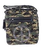 Umhängetasche Canvas Style Camouflage mit Peace Zeichen aus Steinchen/Nieten - Gitzereffekt - Maße 28 x 29 cm - Damen Mädchen Teenager Tasche - verstellbarer Schulterriemen (khaki)