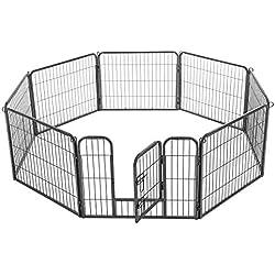 FEANDREA Enclos pour Chien, Parc pour Animal de Compagnie, 77x60 cm, Gris PPK86G
