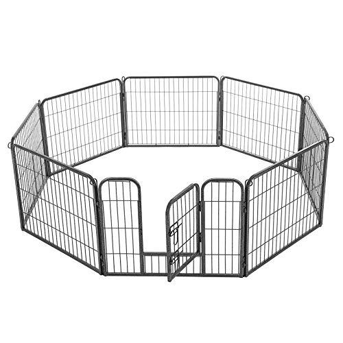 FEANDREA Welpenauslauf Welpenlaufstall Tierlaufstall Freilaufgehege Hundelaufstall Welpenzaun Absperrgitter Zaun Gitter Welpen Hasen Kaninchen 8-Eck grau 77 x 60 cm PPK86G -