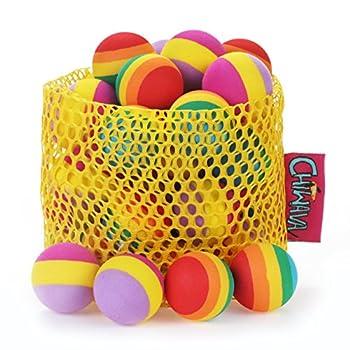 Chiwava 24pcs 3cm en mousse Petit jouet pour chat Balle arc-en-ciel antenne boules de chaton d'activité Chase Toys Couleurs assorties
