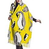 Bufanda Pingüino Amarillo Popurrí Acogedor Suave Moda Invierno Cálido Bufanda Grande Chal Largo
