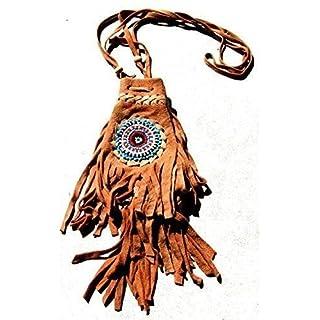 Fair Trade Replica Native American Medicine Drawstring Beaded Bag Pouch (Light)