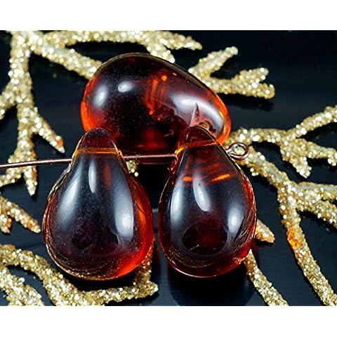 Grande Giallo Scuro Cristallo di Vetro ceco Perle a Goccia Focale Ciondolo Bohemien 19mm x 14mm 4pcs