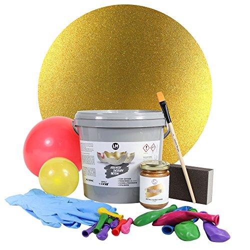 3,8kg LM Beton-Windlichter Set (Gold) Metallic - - - Kreativ Beton, Beton für Kreative, Beton Windlichter, Schalen, Bastelbeton, Beton zum Basteln, Gießbeton, Metallic ähnlich Maya Gold Viva Decor