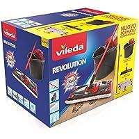Vileda Revolution Box Sistema Lavapavimenti, Set con Strizzatore, Secchio, Piastra Rettangolare, Manico 3 Pezzi e 2 Panni Revolution 2 in 1, Multicolore, 28.5 x 40 x 28.3 cm
