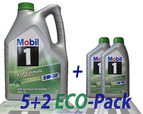 2x 1 L + 5 L = 7 Liter Mobil 1™ ESP Formula 5W-30 Motor-Öl Motoren-Öl; Spezifikationen/Freigaben: ACEA C2, C3; API SM / SN; JASO DL-1; BMW Longlife 04; MB-Freigabe 229.31/229.51; VW 504 00/507 00; P