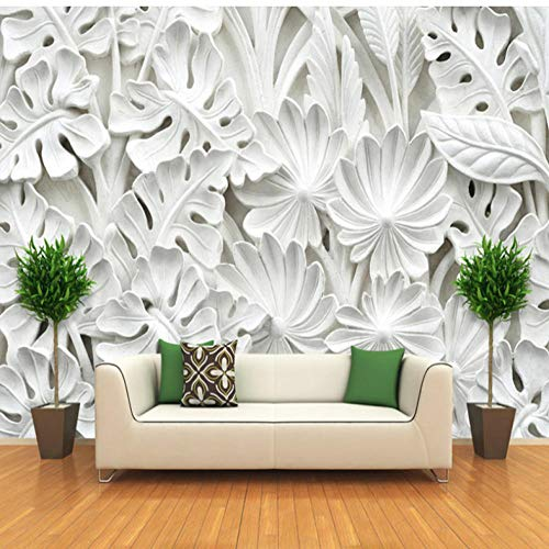 3D Stereoscopic Leaf Pattern Gips Relief Wandbild Tapeten Wohnzimmer TV Hintergrund Wandmalerei Tapeten Home Decoration-200cmx140cm -