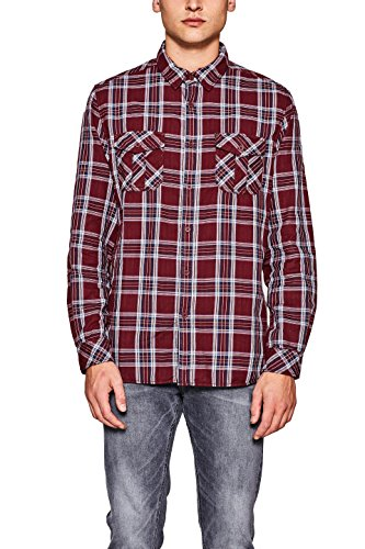 edc by ESPRIT Herren Freizeithemd Rot (Bordeaux Red 600)
