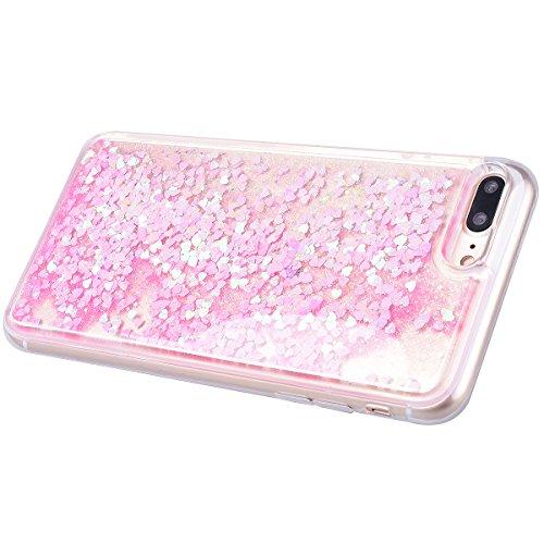 Yokata für iPhone 7 Hülle Silikon Weich TPU Transparent Treibsand Liquid Bling Glitter Handyhülle Schutzhülle Durchsichtig Clear Case Backcover Bumper - Love Blau + 1 x Kapazitive Feder Love Light Pink