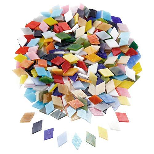 Surepromise - piastrelle per mosaico, colori assortiti, a forma di rombo, in vetro glitterato, con scatola, per decorazioni fai da te