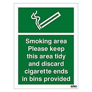 Smoking area sign, please keep this area tidy and discard cigarette ends in bins provided. 150mm x 200mm (1mm Thick Rigid Plastic)