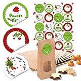 24 kleine braune Weihnachts-Papiertüten natur Kraftpapier mit Boden Fenster und Pergamin 7 x 4 x 20,5 cm + 24 runde Aufkleber Weihnachten Frohes Fest rot grün weiß Verpackung Geschenk