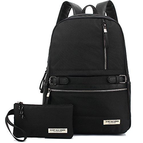 Zumit Rucksack Uni für Damen Herren Schultasche Schulrucksack Mädchen Jungen Reisen Outdoor Daypack Studenten Laptop Backpack 15,6 zoll Schwarz